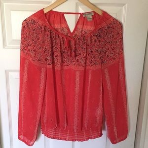 *NWOT* Lucky Brand Sheer Tie Front Peasant Top
